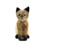 Brown Wood Cat Statue Isolated On White Background