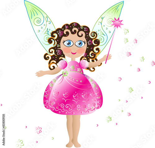 Photo  Pink flower fairy with magic wand and delicate openwork wings