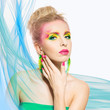 Portrait of beautiful blonde woman. Vivid colored summer make-up