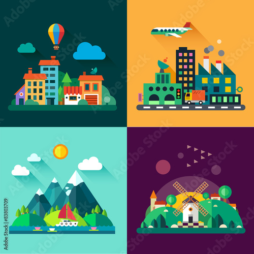 Wall Murals Green coral Urban and village landscapes