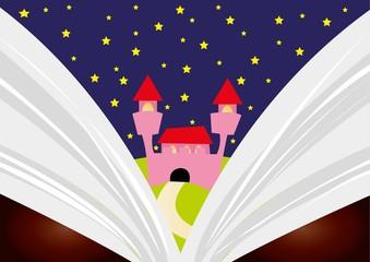 zamek, książka,noc
