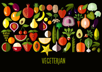 Vegetables and fruit icons: vector set of flat colorful food