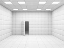 White Mental Hospital Room Interior With Opened Door. 3D Rendering