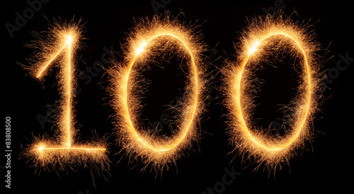 "Fotomural  ""100"" number drawn with bengali sparkles"
