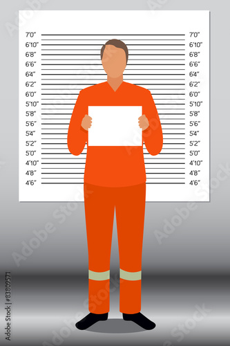 Fotografija  Prisoner in police lineup backdrop, illustration, vector