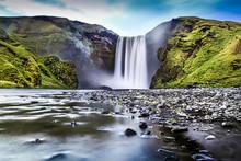 Long Exposure Of Skogafoss Waterfall In Iceland