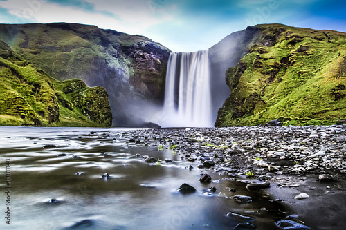 Long exposure of Skogafoss waterfall in Iceland