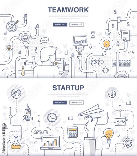 Fotografía  Startup and Teamwork Doodle Concepts