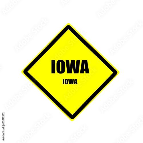 Photo  Iowa black stamp text on yellow background