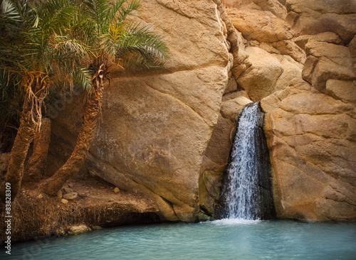 View of mountain oasis Chebika, Sahara desert, Tunisia, Africa
