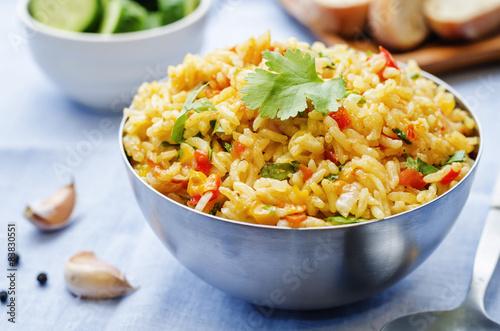 Fotografie, Obraz  saffron rice with vegetables and cilantro
