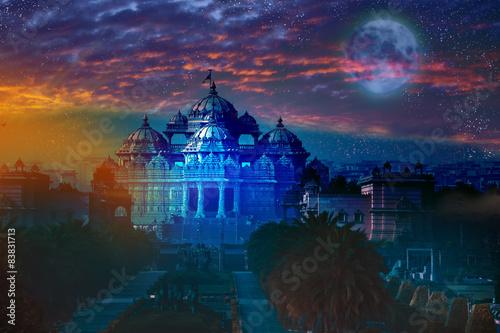 Stickers pour porte Delhi India. Delhi.temple Akshardham by light of full Moon.