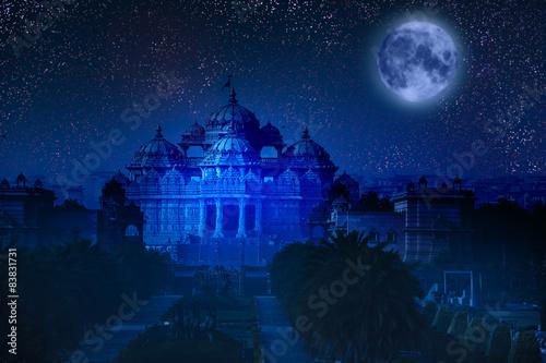 Delhi India. Delhi. Akshardham by the light of full Moon.