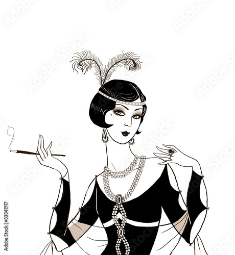 Flapper girl Retro party invitation designArt deco women with