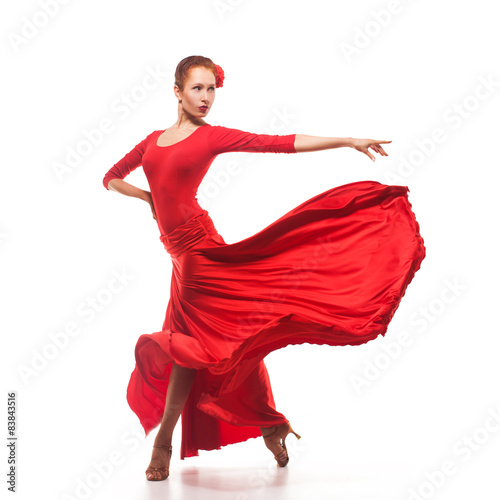 Fotografie, Obraz  Žena Tradiční tanečnice v červených šatech
