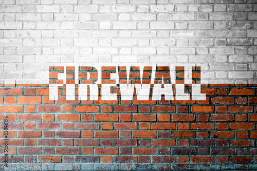 Fotografía  Red Brick wall texture with a word Firewall