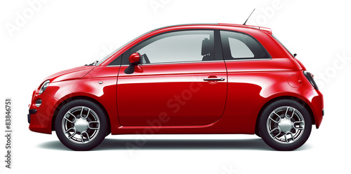 Staande foto Cartoon cars Red city car - side view
