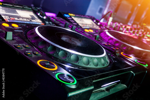 fototapeta na szkło DJ odtwarzacz CD i mikser