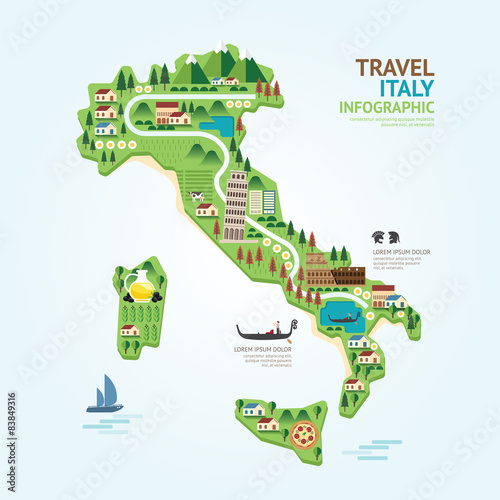 Infographic travel and landmark italy map shape template design. Tablou Canvas