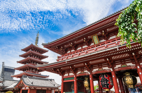 Spoed Foto op Canvas Tokyo 東京 浅草寺 宝蔵門と五重塔