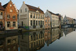 canvas print picture - Old town of Ghent on the river Leie