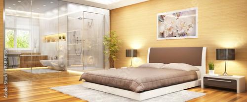 Photo  Modern bedroom with bathroom