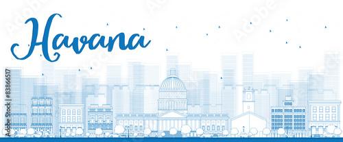 Outline Havana Skyline with Blue Building Wallpaper Mural