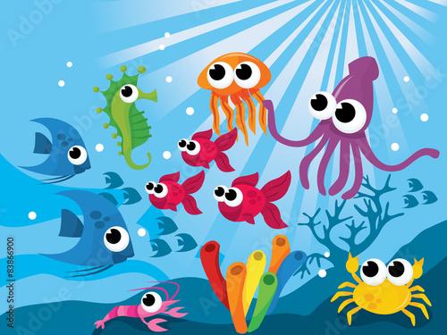 Aluminium Prints Submarine Underwater Cartoon Creatures