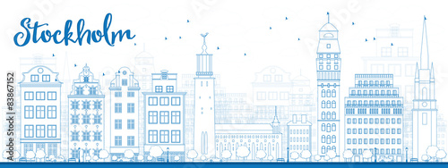 Photo  Outline Stockholm Skyline with Blue Buildings
