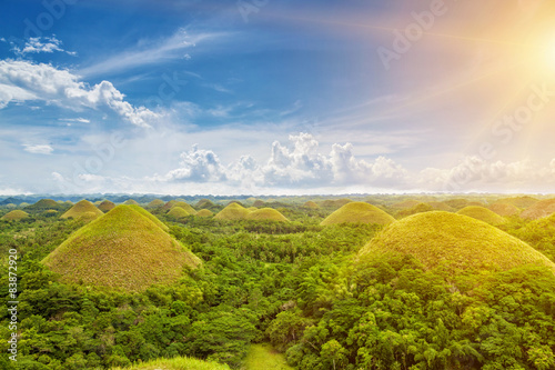 Spoed Foto op Canvas Heuvel Beautiful Chocolate Hills in Bohol, Philippines