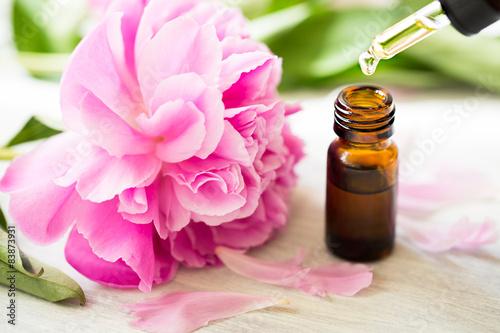 Fotografie, Obraz  Aromatherapy, essentials oils, peony flowers