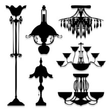 Silhouettes Of Lamps Icons Set...
