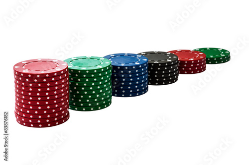 Stack of gambling chips isolated on white плакат