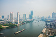 Bangkok city skyline view with Chaophraya river