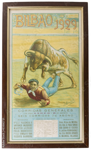 Old Bullfight Poster Silk Printed whit Wooden Frame