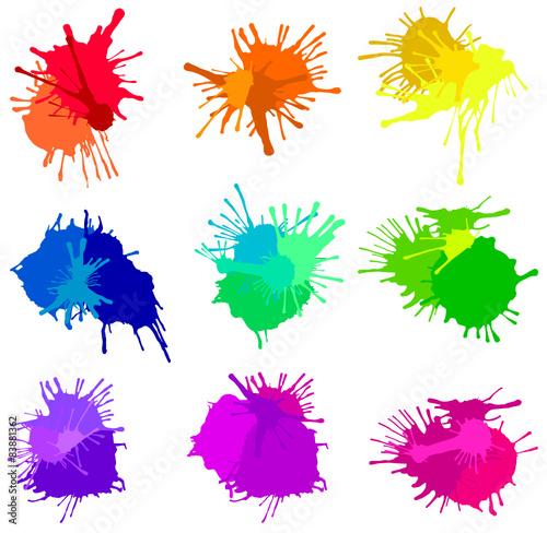 Fotografie, Obraz Set of Overlapping Color Splashes