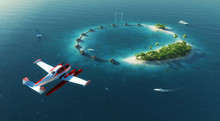 Sea Airplane Flying Above Priv...