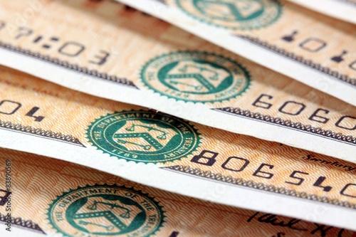 United States Treasury Savings Bonds Financial Security concept Canvas Print