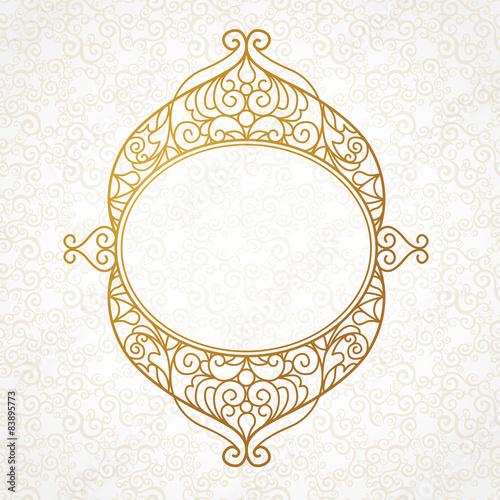Fotografia  Filigree vector line art frame in Eastern style.