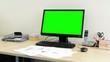 desktop computer in the office - green screen - nobody (empty)