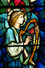NaklejkaAngel making music on a harp (stained glass)