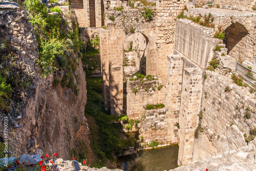 Ancient Pool of Bethesda ruins. Old City Jerusalem, Israel. Poster