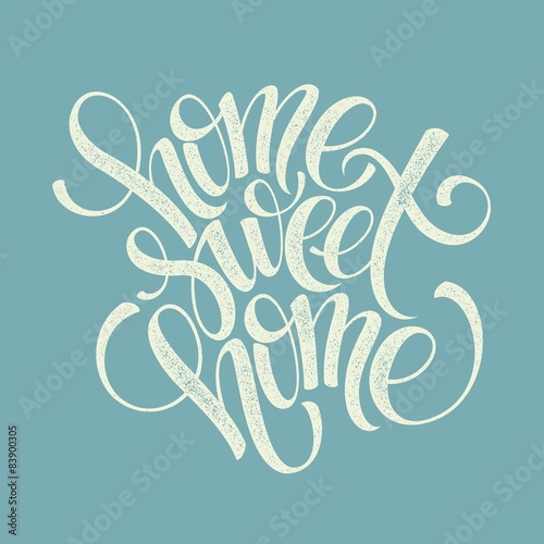 home sweet home hand lettering, vector Canvas Print