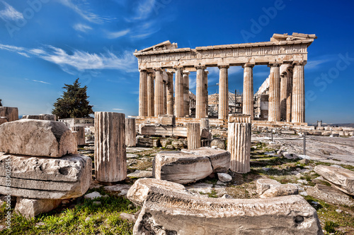 Poster Athene Parthenon temple on the Acropolis in Athens, Greece