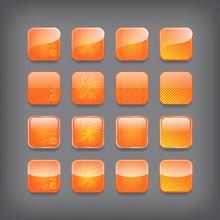 Set Of Blank Orange Buttons