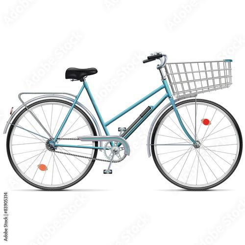 Staande foto Fiets Vector Bicycle with Cart