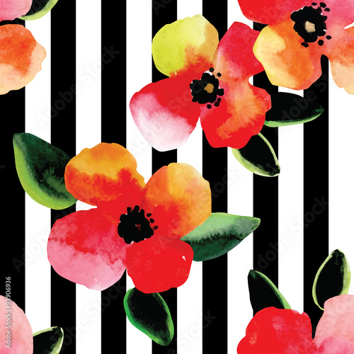 Watercolor Floral Pattern Black And White Striped Background Buy
