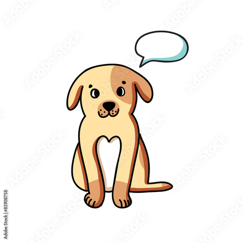 Poster Dogs Dog with talking bubble on white background
