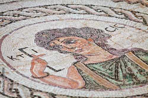 Photo Stands Cyprus Fragment of ancient religious mosaic in Kourion, Cyprus