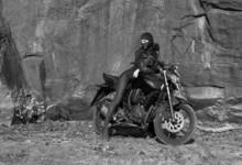 Biker Theme: Beautiful Sexy Woman With Mask Posing With Motorbik